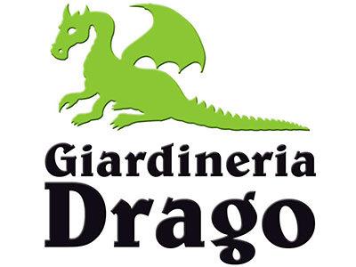Logo Giardineria con scritta nera e disegno drago verde