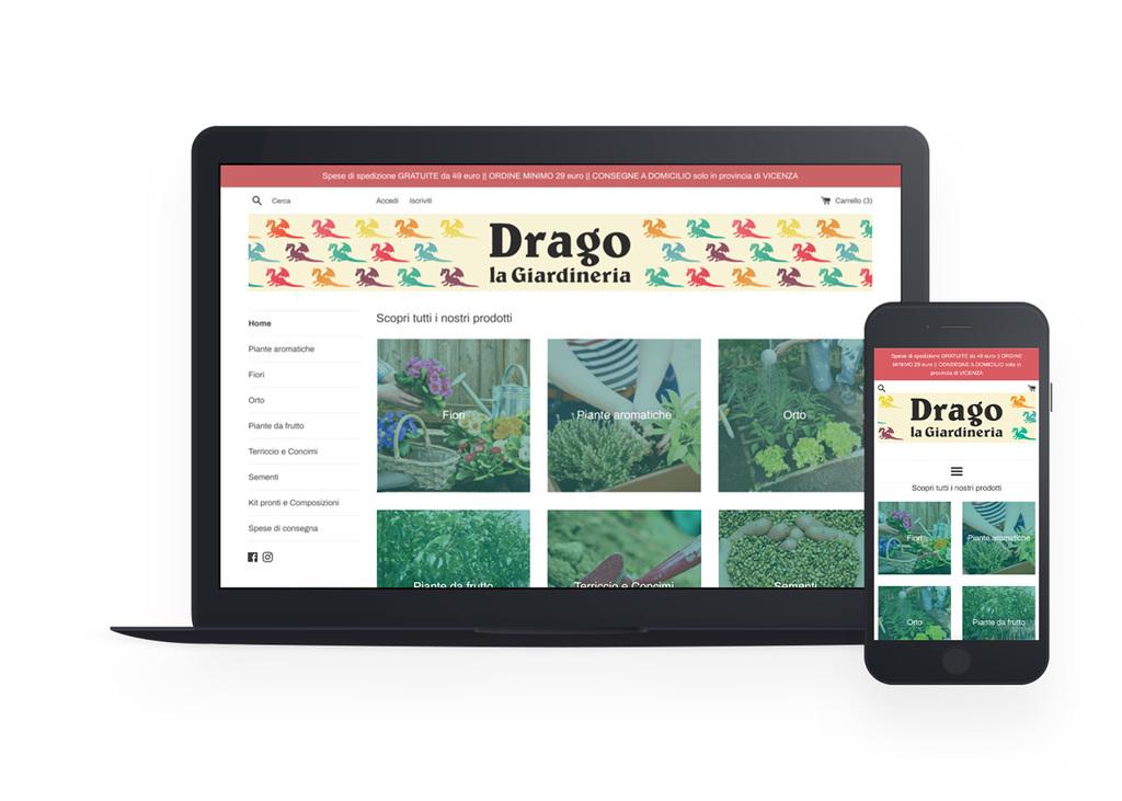 Mockup dell'homepage dello shop della giardineria