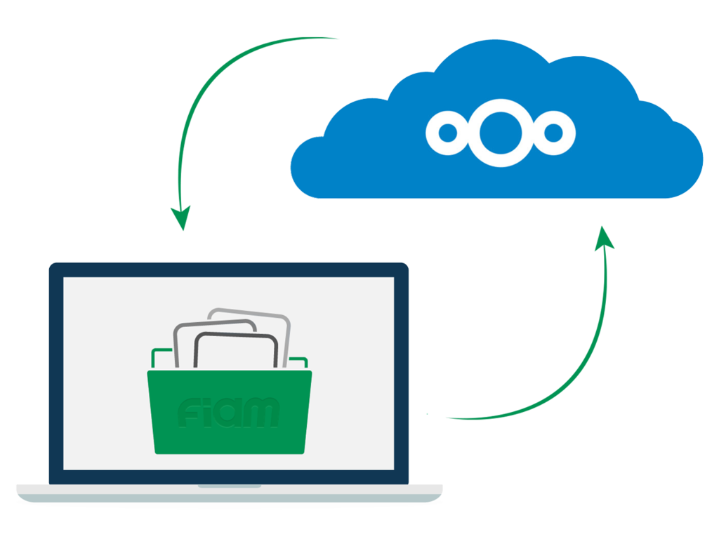 Mockup della nuvola di Nextcloud che interagisce con Fiamgroup