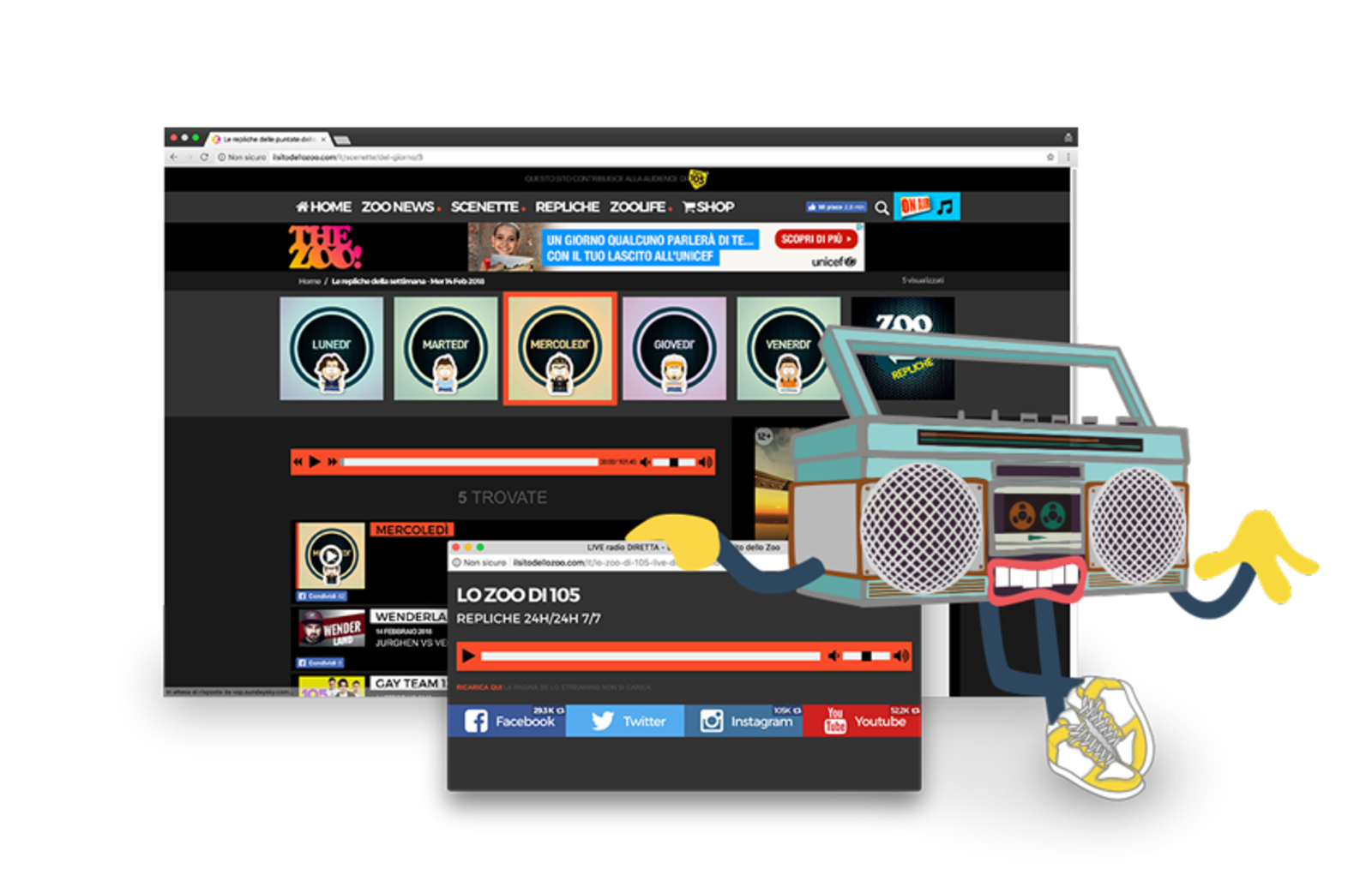 Image consisting of multiple screens of the site including the live screen