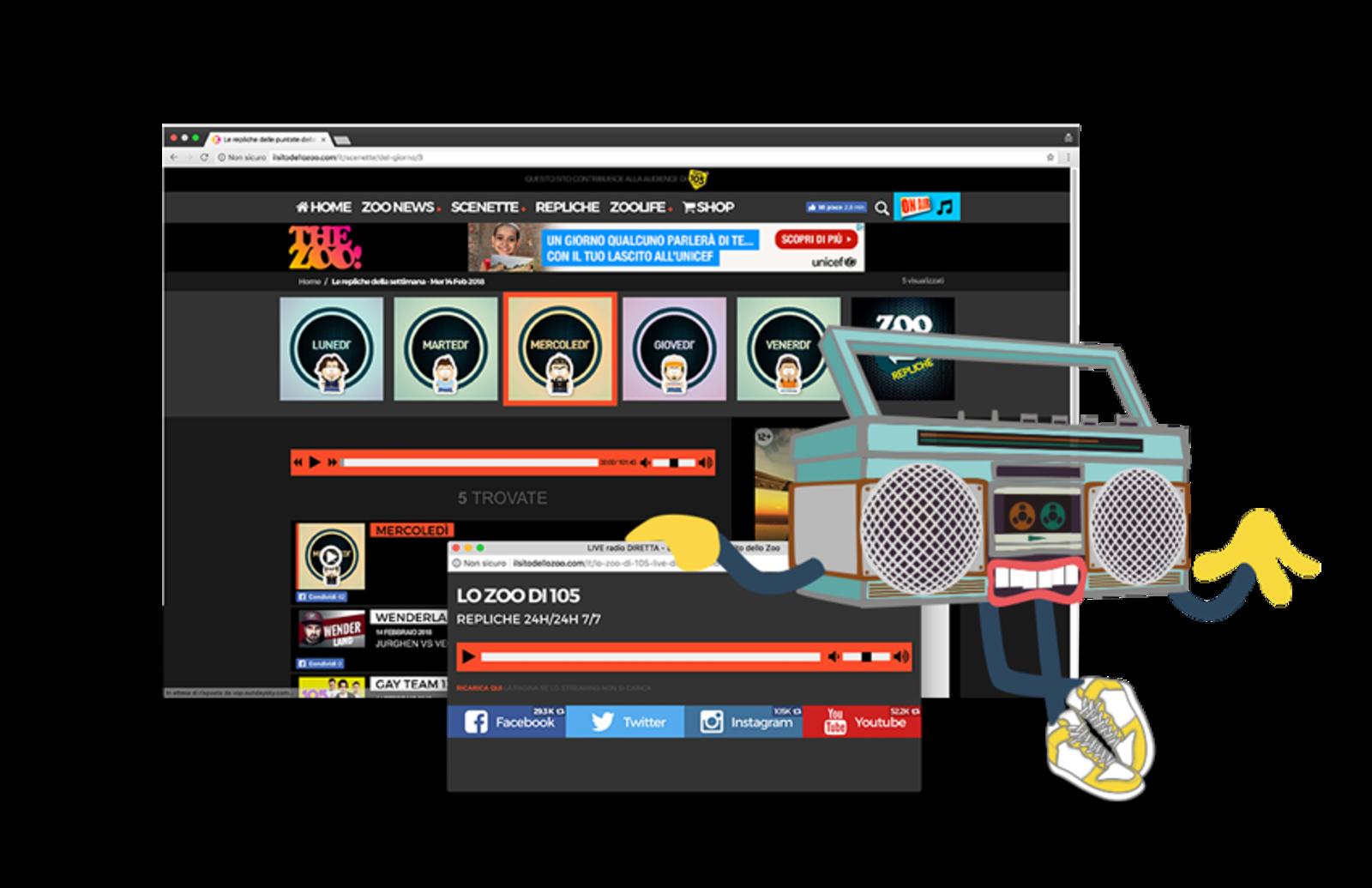 Immagine costituita da più schermate del sito compresa quella della diretta