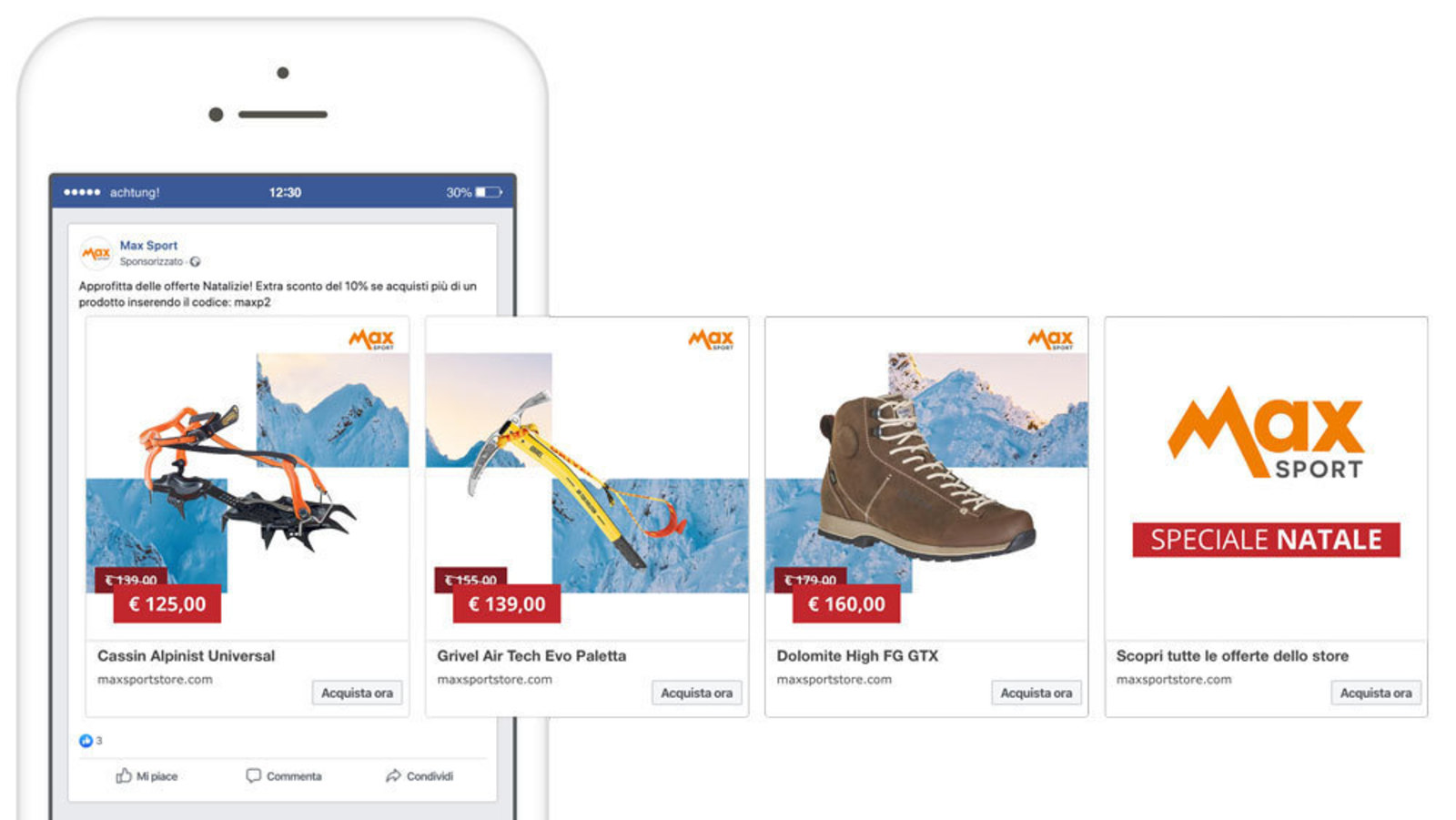 Mockup of a Facebook carousel of mountain equipment for sale on Max Sport