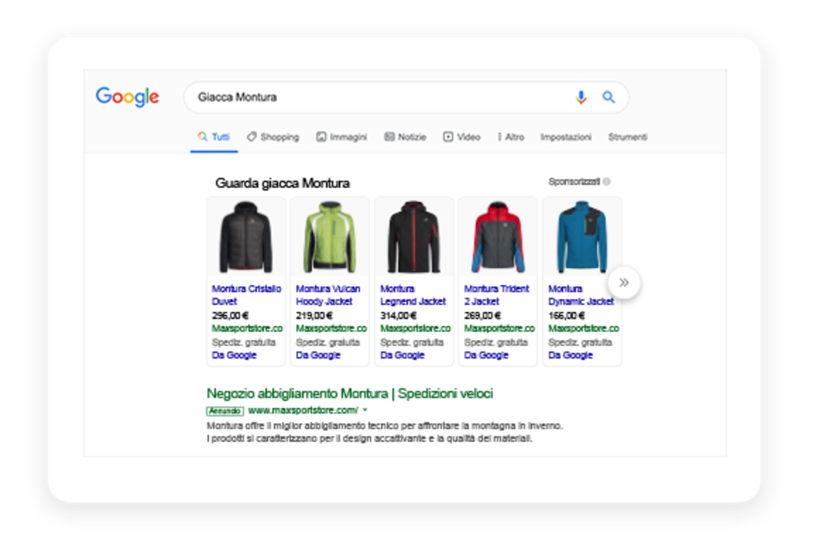 Screen showing some Max Sport products on Google Shopping