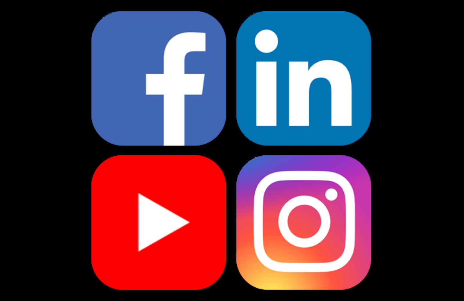 Loghi di Facebook, Linkedin, YouTube e Instagram