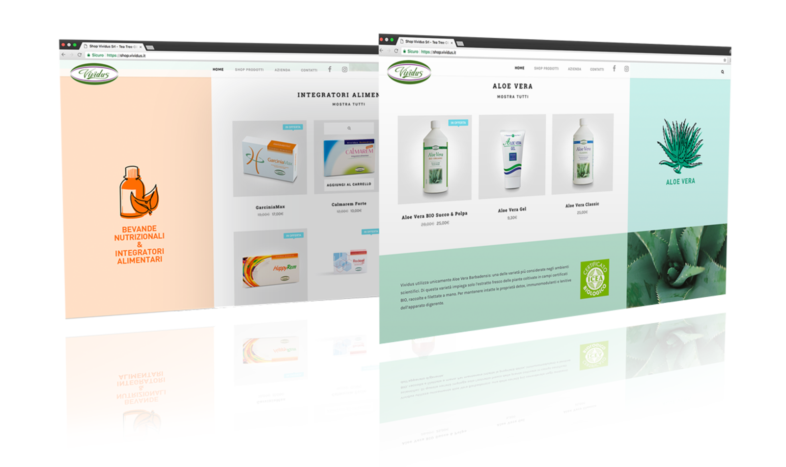 screenshot of e-commerce pages created for Vividus