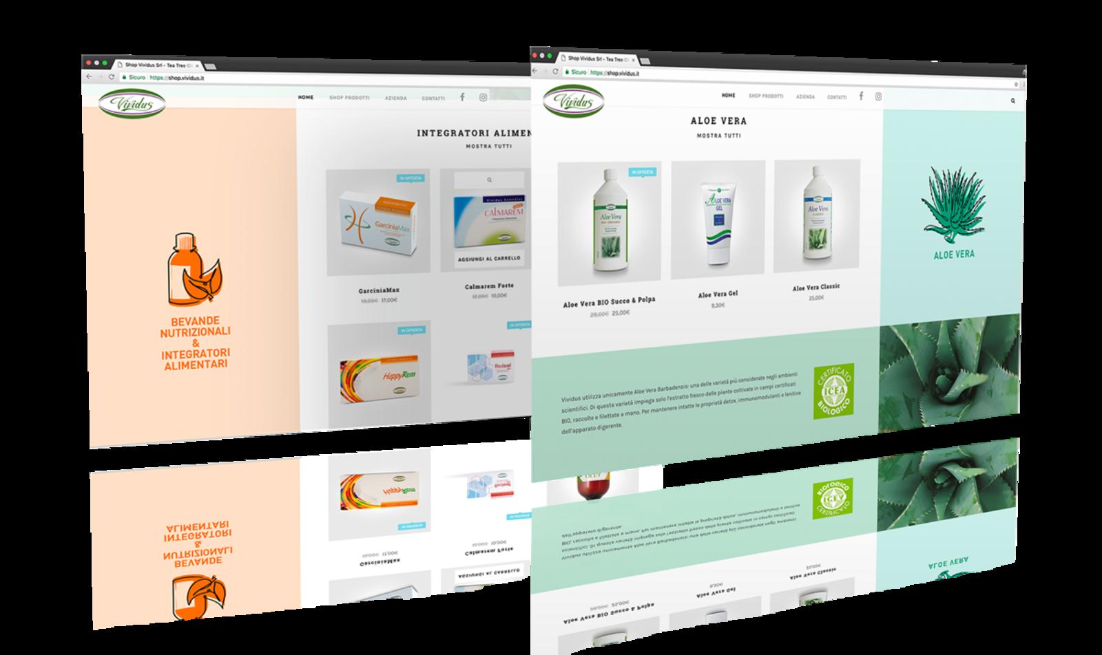 screenshot di pagine dell'e-commerce creato per Vividus