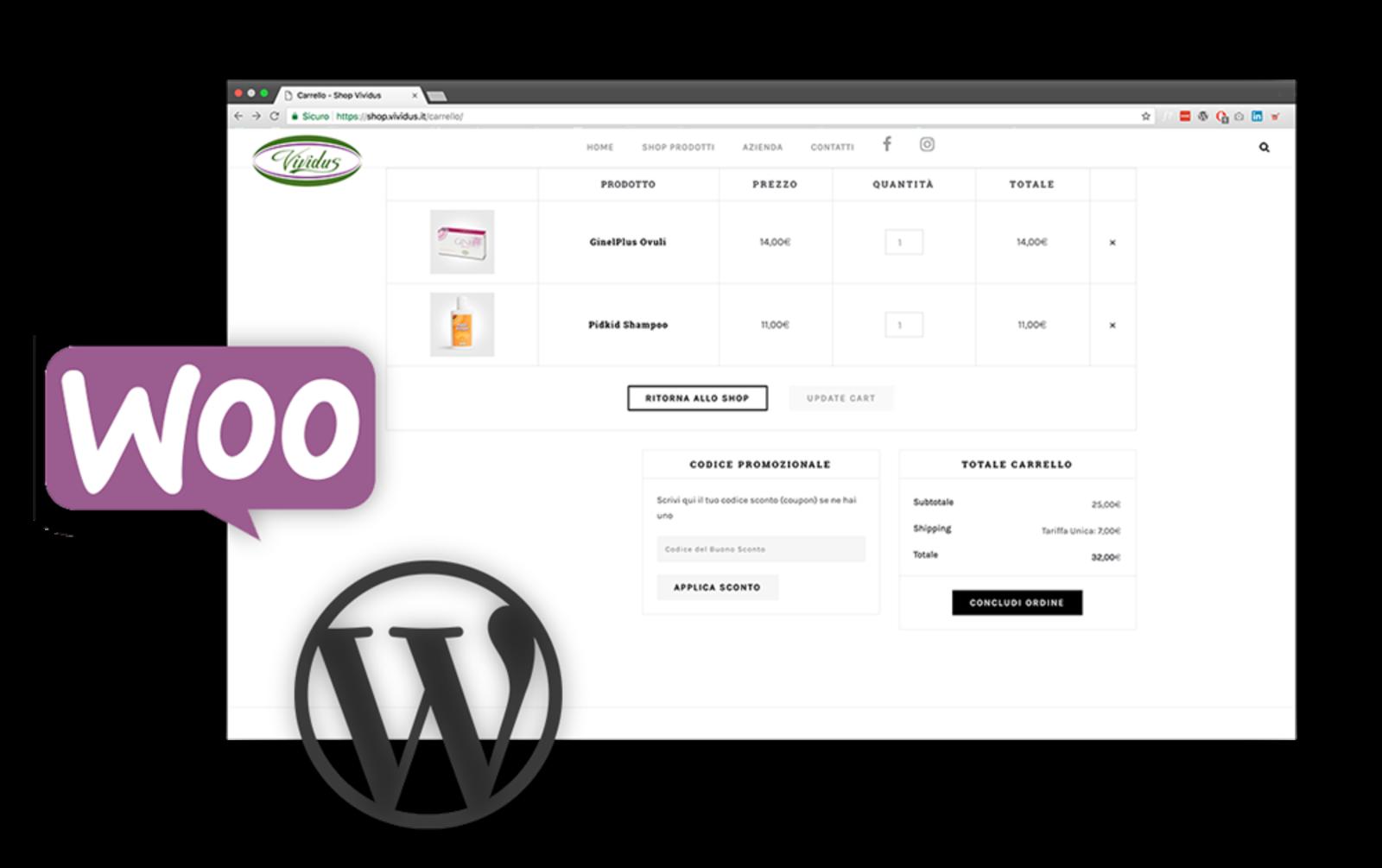 Loghi di Wordpress e Woocommerce