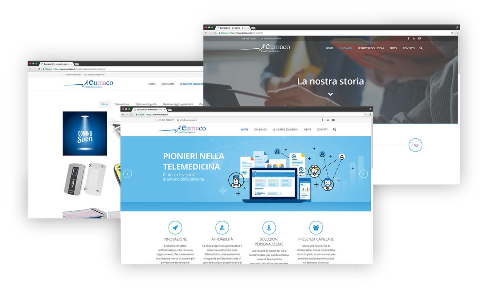 Set di screenshot delle pagine del sito web di Eumaco