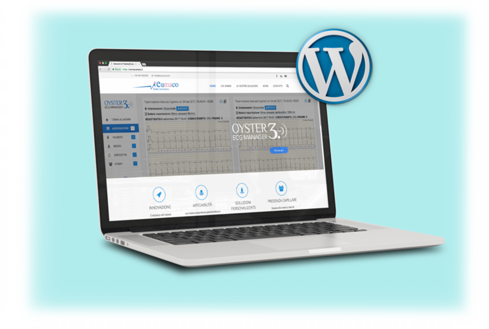 Laptop con su screen Mastergest e logo Wordpress