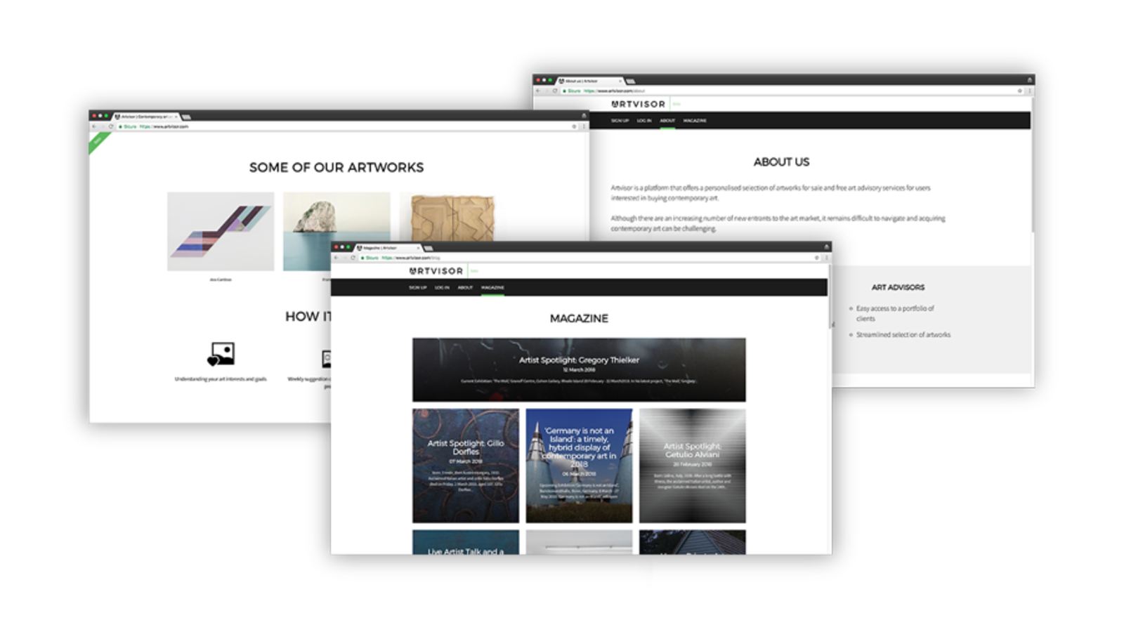 example screenshot of the pages of the Art Advisor site