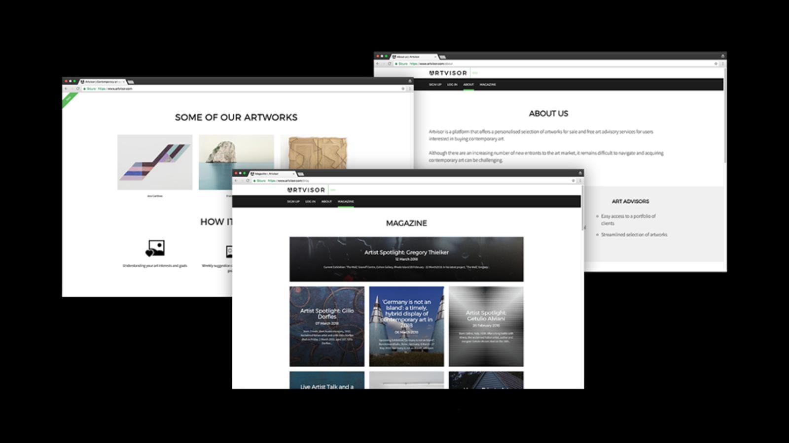 screenshot di esempio delle pagine del sito di arte Artvisor