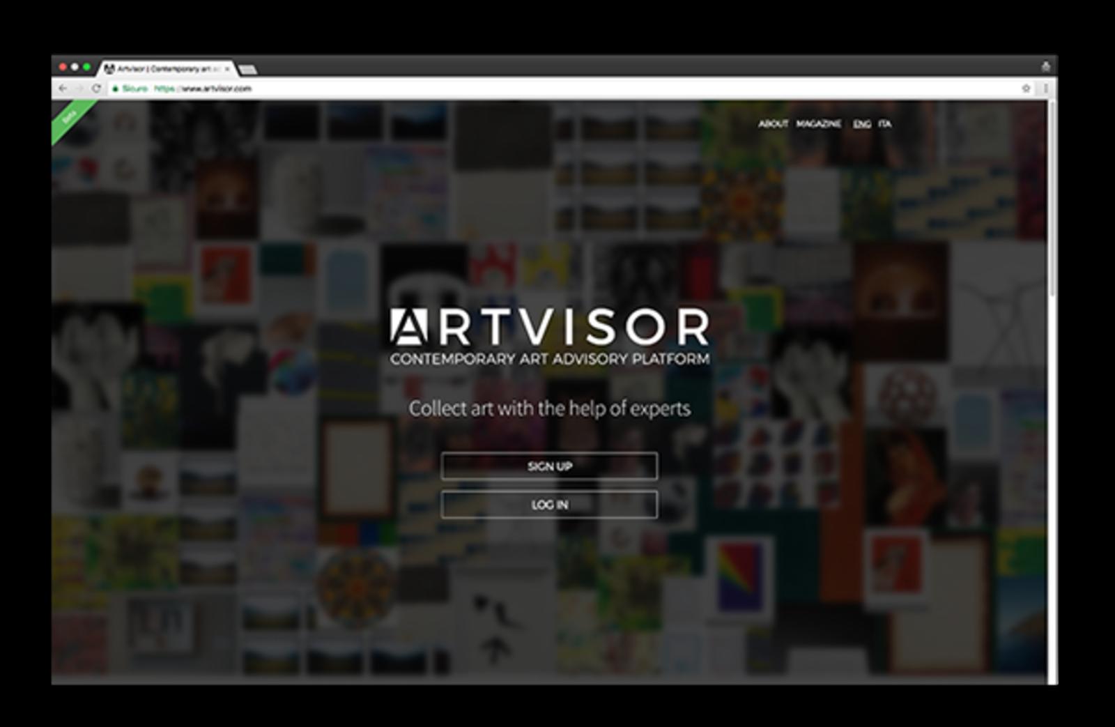 Screeshot della homepage di Artvisor