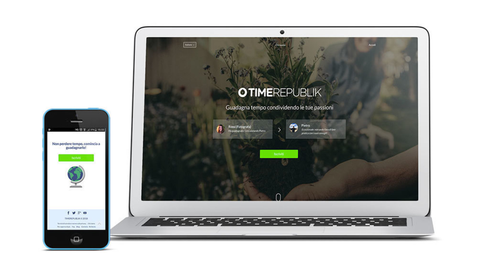 Mockup of mobile device and laptop with the Time Republik web page