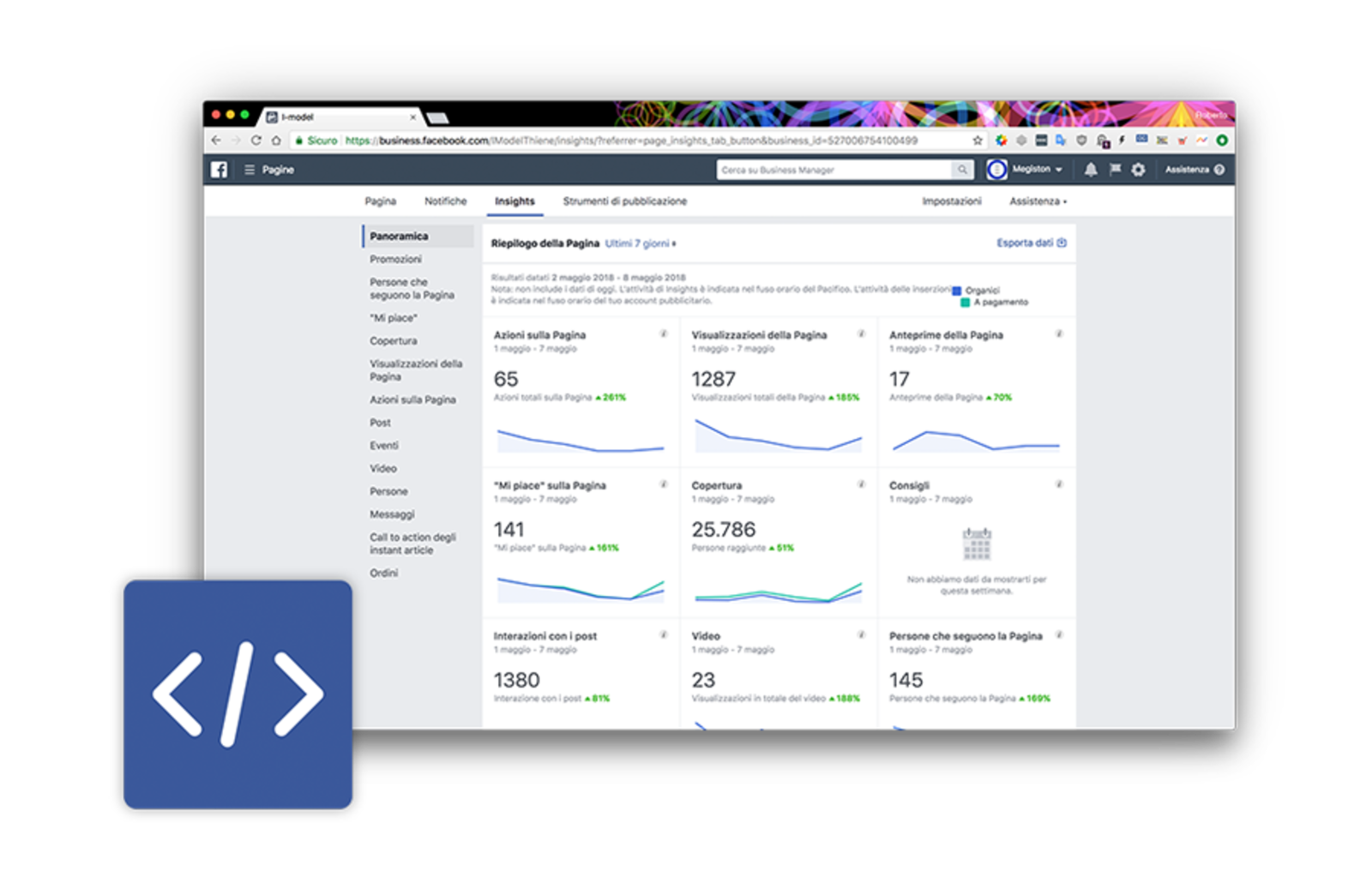Pixel di facebook e insights di I-model