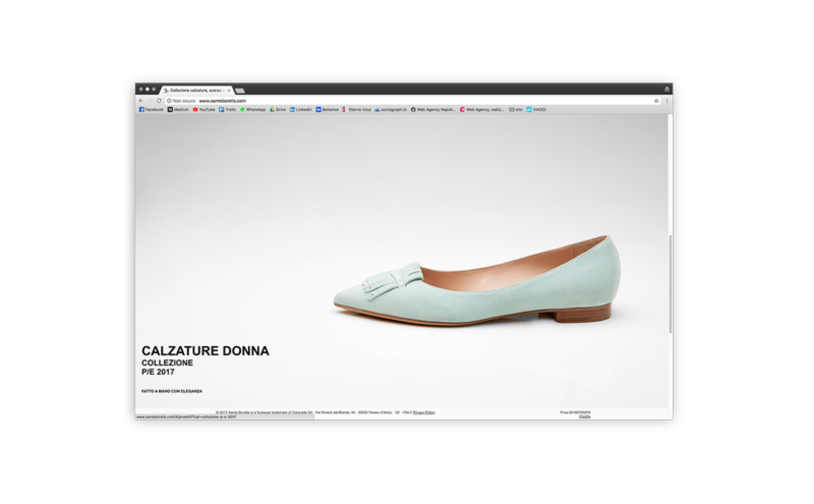 example of Sante Borella shoe photo inserted in one of the pages of the website