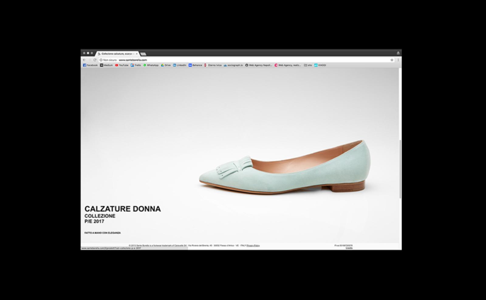esempio di foto di calzatura Sante Borella inserita in una della pagine del sito web