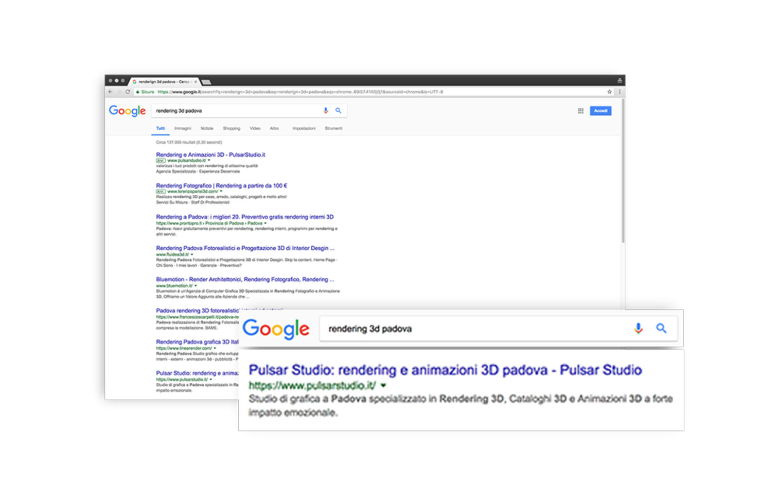 placement on the first page of google results