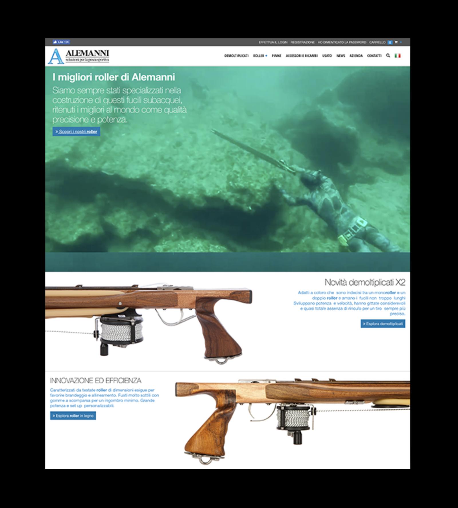Screenshot degli arbaleti nella homepage di Alemanni