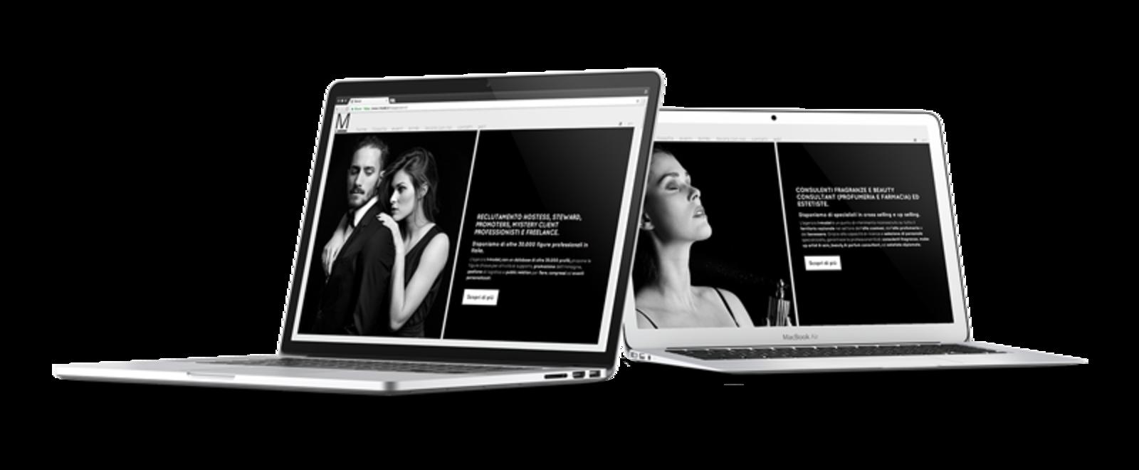 Mockup di due laptop con le pagine del sito di I-model
