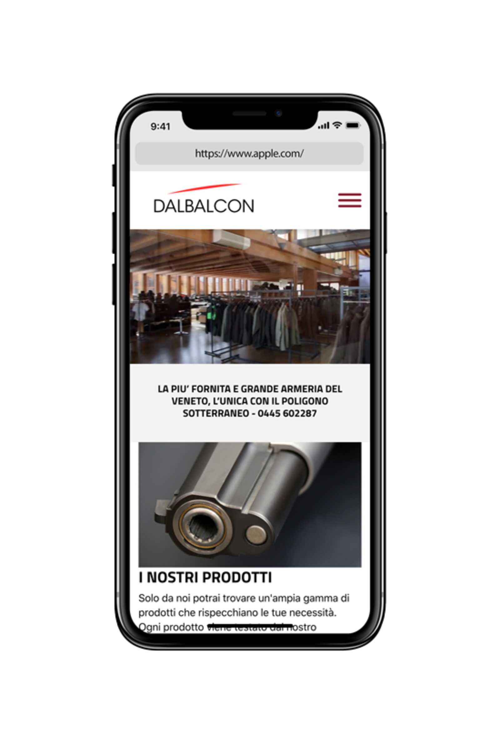 Iphone X that displays the home page of the Armeria Dal Balcon site