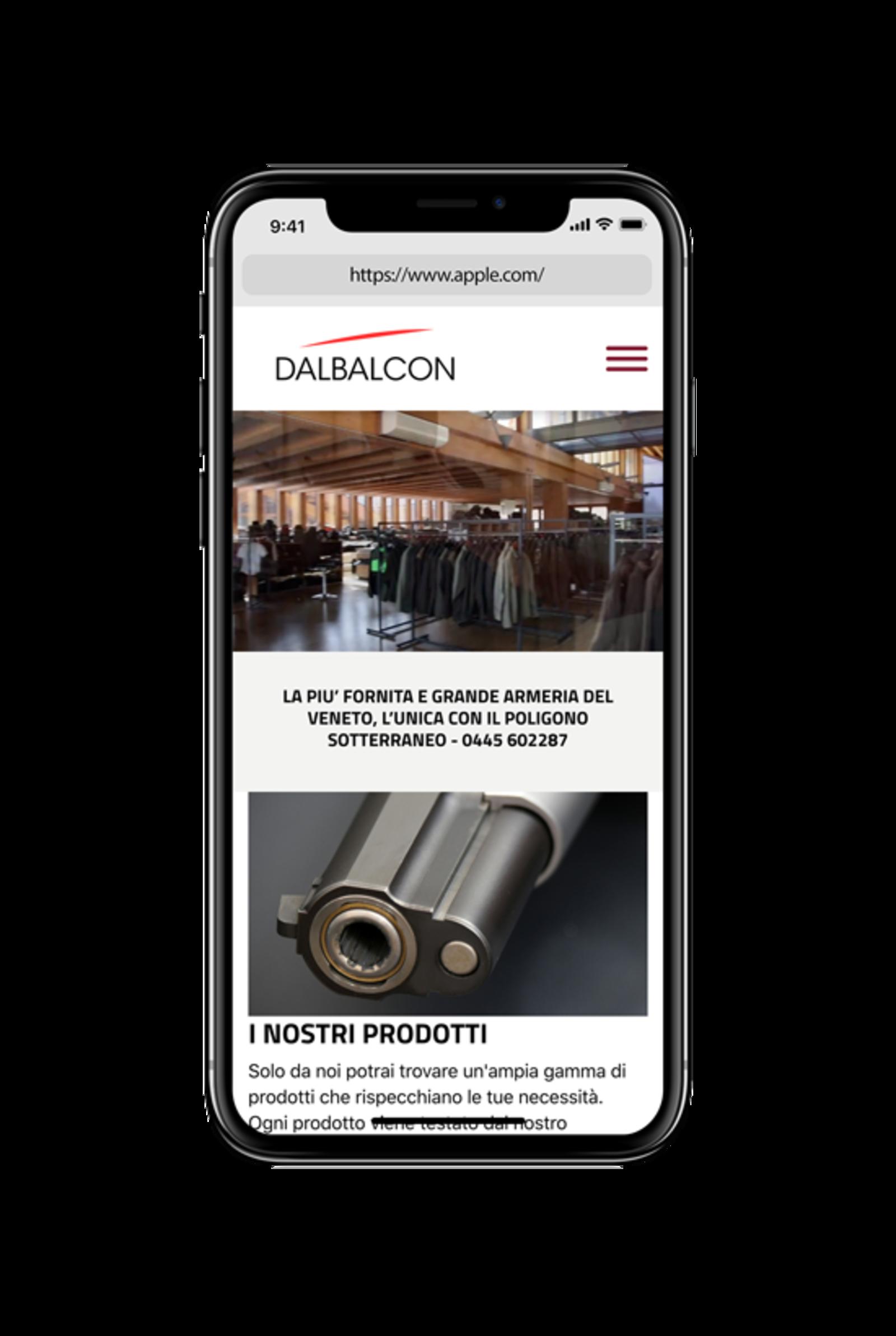 Iphone X che visualizza la home page del sito Armeria Dal Balcon
