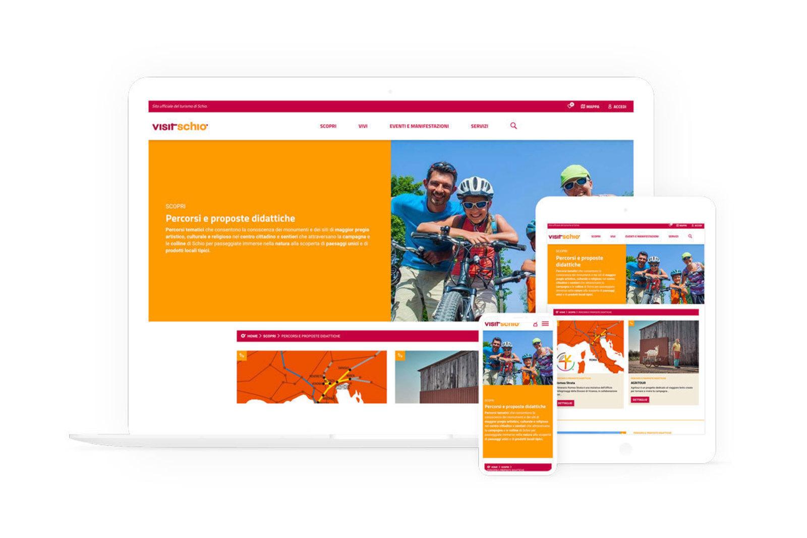 Vari dispositivi che mostrano il sito nella sua versione mobile, tablet e desktop