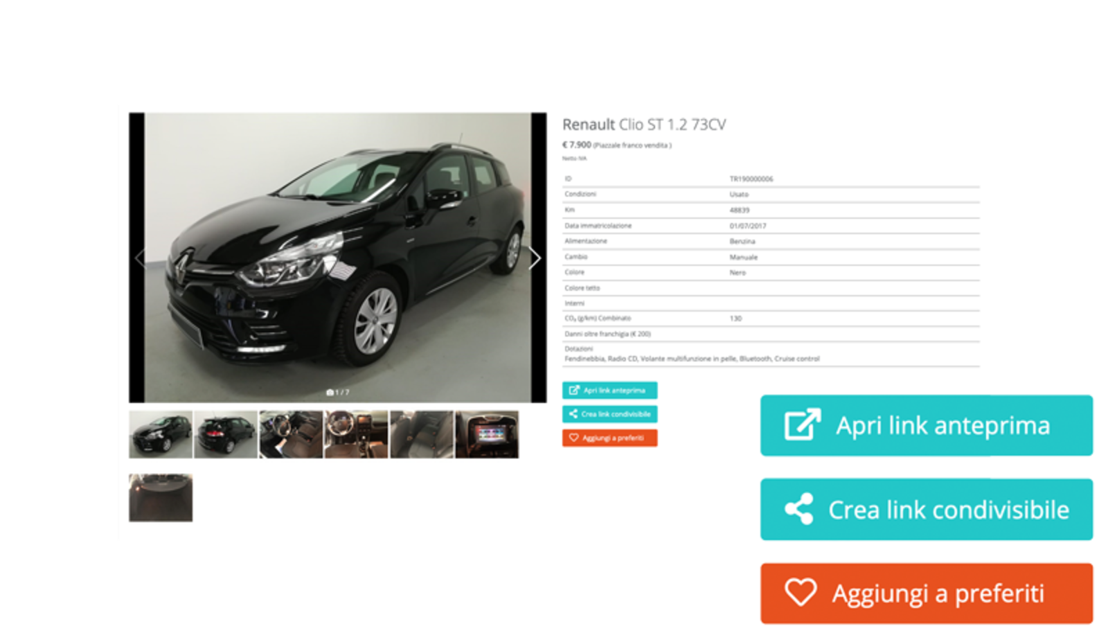 Screen of a car card with photos, details and options for the car