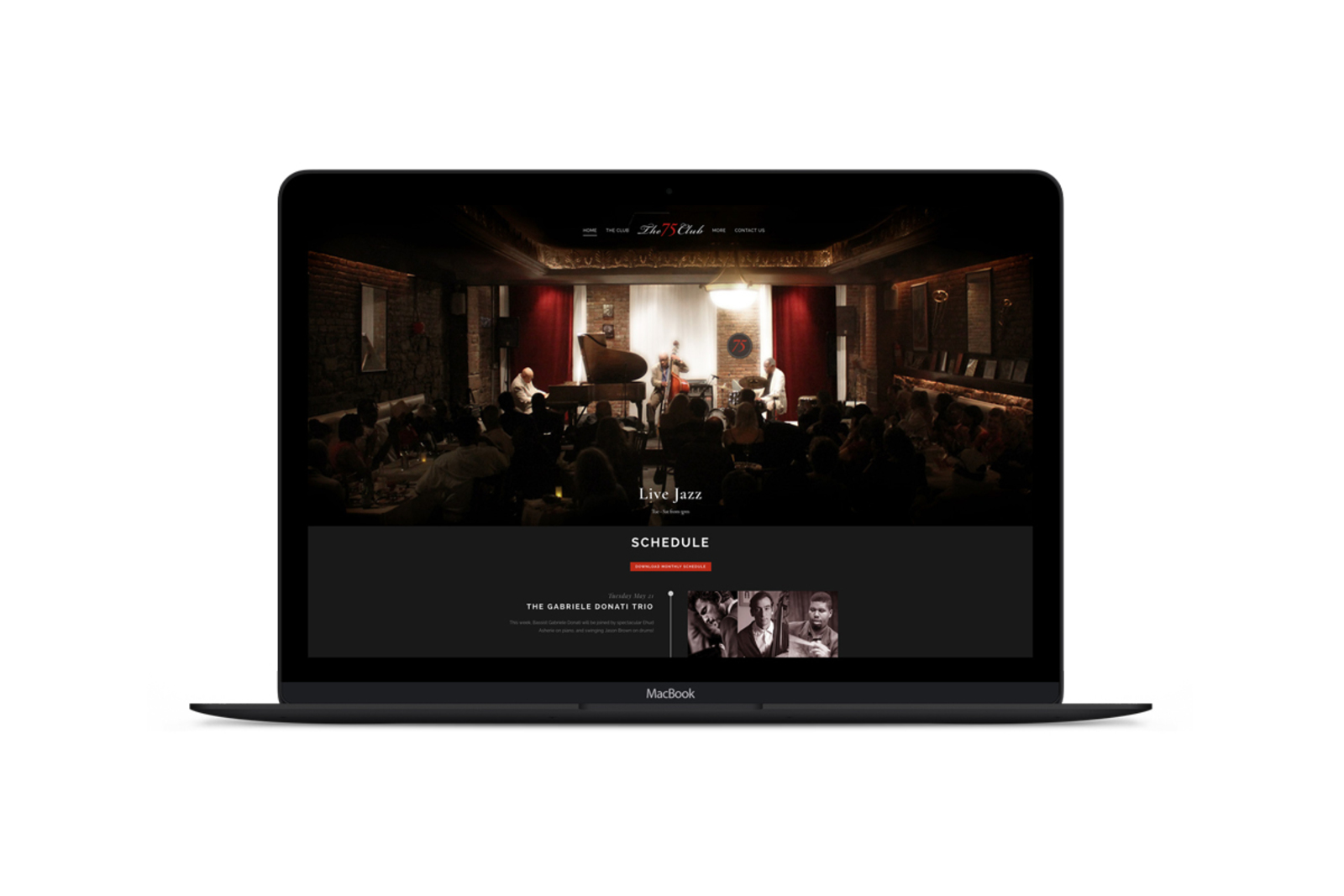 Macbook mockup showing the website of The 75 Club