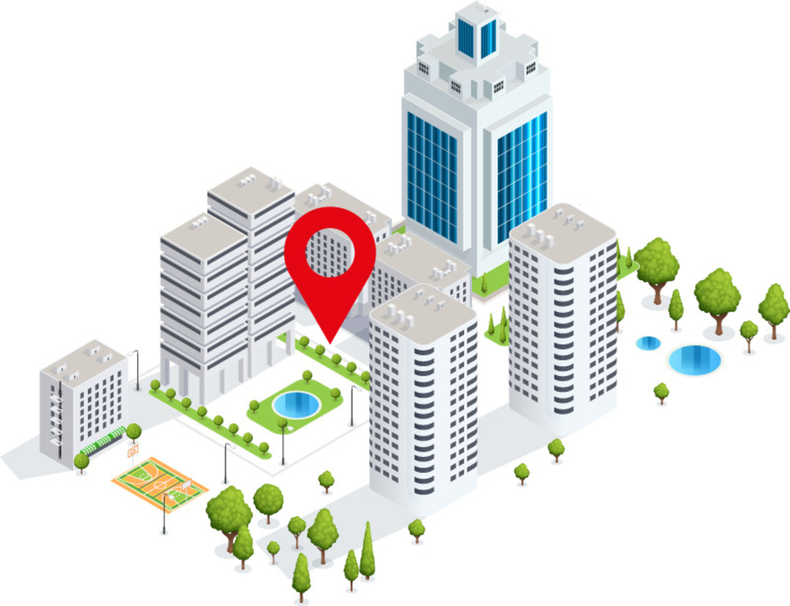 Stylized city with a red pin in the center