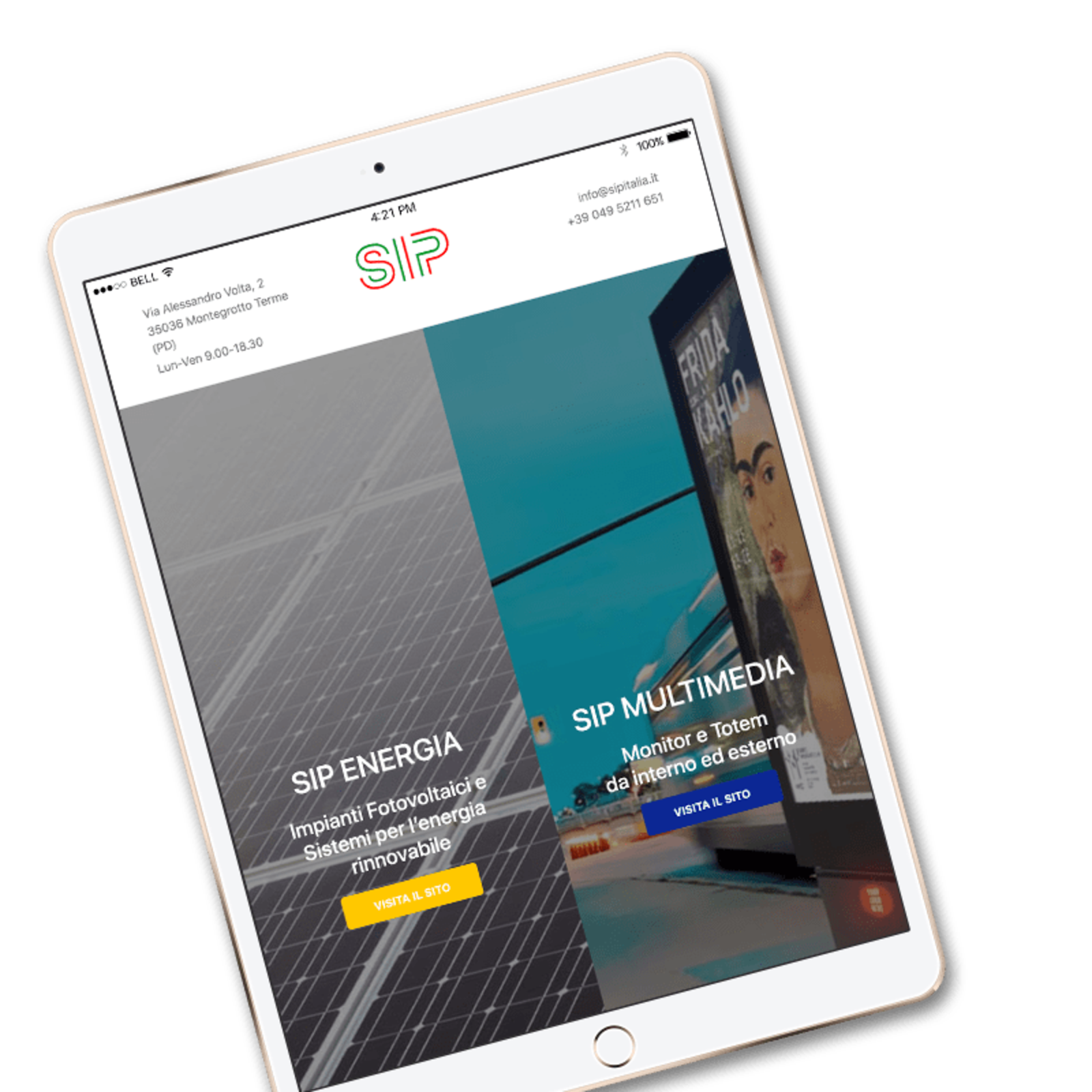 Mockup of an iPad as shown in the initial landing page